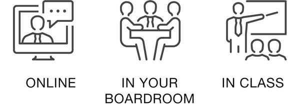 Training courses can be done in your boardroom, online or in class
